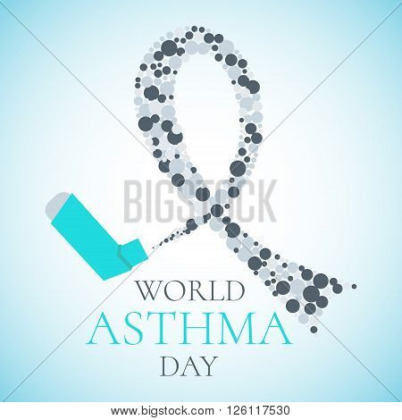 World Asthma Day concept with a spray inhaler and a grey ribbon. Bronchial asthma awareness sign. National asthma day. Asthma solidarity day. Vector illustration.