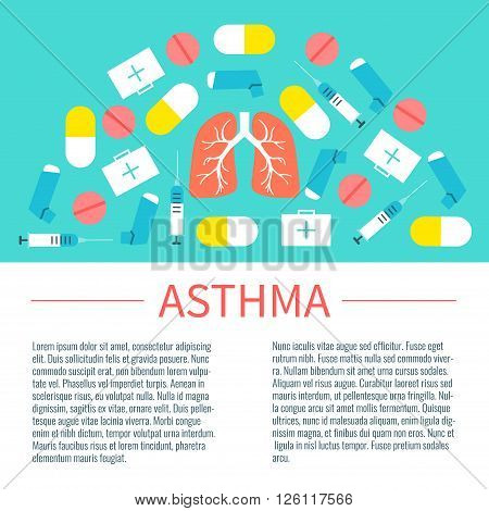 Asthma infographic design template with place for text. Asthma treatment symbols-inhalers, pills, syringes and first aid boxes. Asthma awareness sign. Vector illustration.