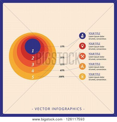 Multicolored template for concentric circles diagram with sample text and percent marks