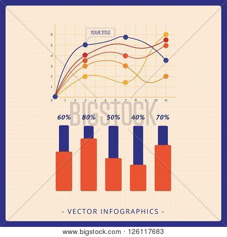 Multicolored template of line graph and five vertical statistic bars with sample text