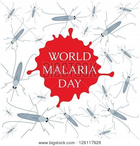 World Malaria Day concept with mosquitoes and drop of blood. Mosquito warning. Malaria awareness sign. Malaria transmission. National malaria day. Malaria solidarity day. Vector illustration.
