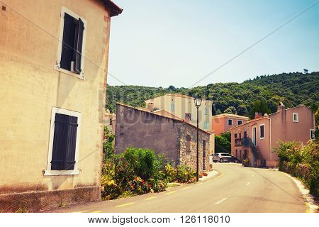 Street View Of Piana Town In Summer. Corsica