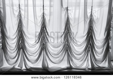 Decorative White Tulle With Folds Pattern