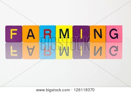 Farming - an inscription from children's wooden blocks