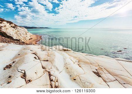 Fantastic view of the azure sea on a sunny day. Picturesque scene. Location place Island Sicily (Sicilia), Natural Reserve Foce del Fiume Platani, Italy, Europe. Mediterranean sea. Beauty world.