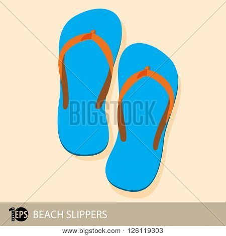 pair of blue beach slippers, eps10 vector
