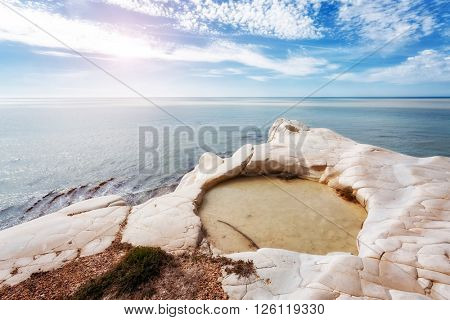 Fantastic view of the azure sea on a sunny day. Picturesque scene. Location place Island Sicily (Sicilia), Natural Reserve Foce del Fiume Platani, Italy, Europe. Mediterranean sea. Beauty world.