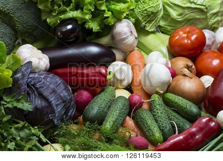 Background of fresh vegetables and greens closeup ** Note: Shallow depth of field