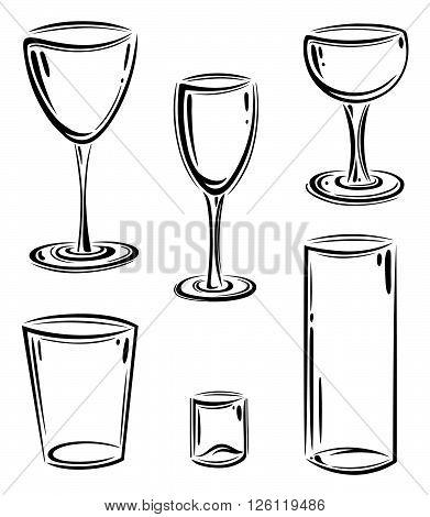 Set of glasses, wine and sparkling wine glasses, vector design elements.
