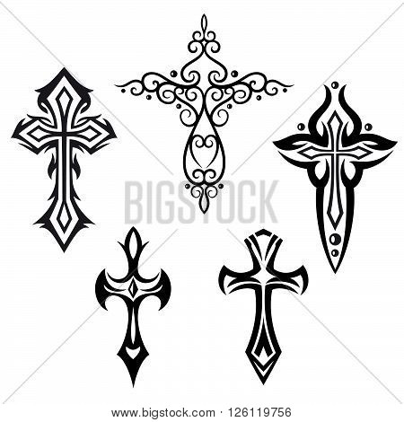 Cross, crucifix, religious vector set, design elements.