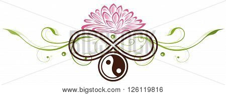 Lotus flower, beautiful waterlily with yin and yang and infinity symbol.