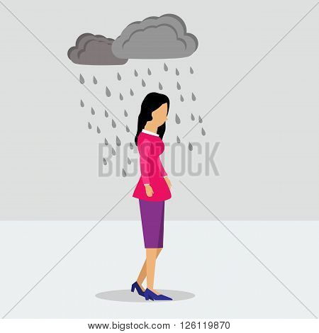 Vector illustration walking business woman in depression in the rain. Flat style.