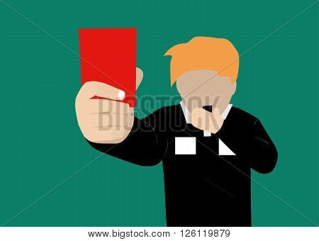 soccer referee showing a red card vector