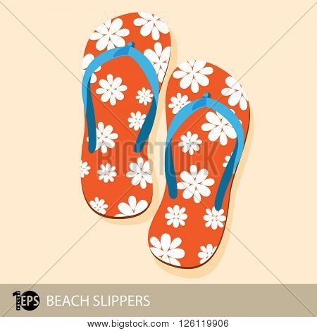 pair of orange beach slippers with flower decoration, eps10 vector