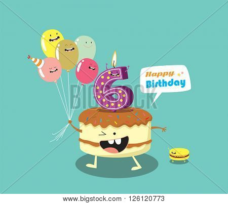 Happy birthday card. Funny cake, number candle and balloon friends. Vector illustration