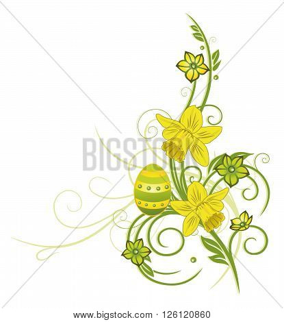 Colorful easter tendril with easter eggs, daffodils and flowers.