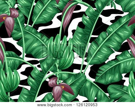 Seamless pattern with banana leaves. Decorative image of tropical foliage, flowers and fruits. Background made without clipping mask. Easy to use for backdrop, textile, wrapping paper.
