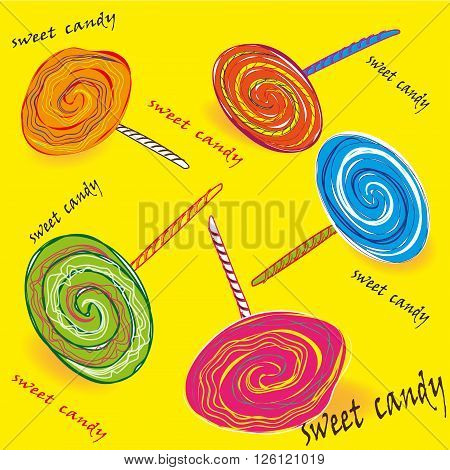 Set of colored sweet candy on a stick Drawing set of colored sweet candy on a stick, five bright lollipops on a yellow background