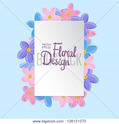 Floral vector frame. Forget-me-not flowers and place for your text on blue background.  Floral design