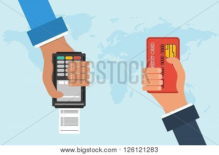Flat design vector concept of mobile banking. Two hands with credit card and atm terminal on background map of the world. Transferring money and payment