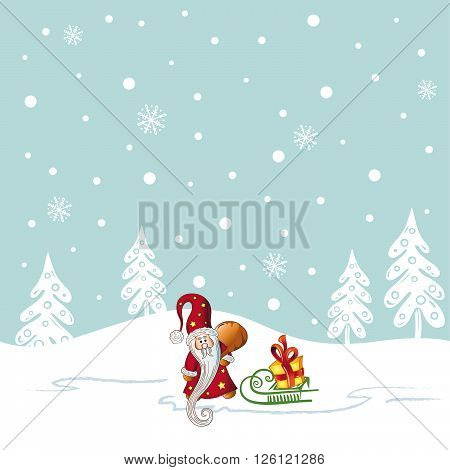 Christmas background with trees and snowflakes. Santa Claus, sledge and gifts.