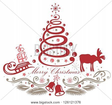 Merry Christmas, beautiful christmas tree decoration with Gifts, sledge, elk and bells.