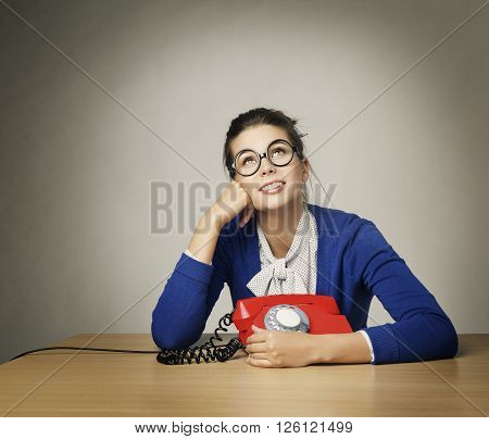 Happy Woman Waiting Phone Call, Thinking Girl Looking Up over Gray Background
