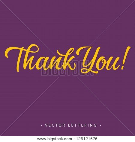 Bright yellow calligraphic Thank you inscription on purple background