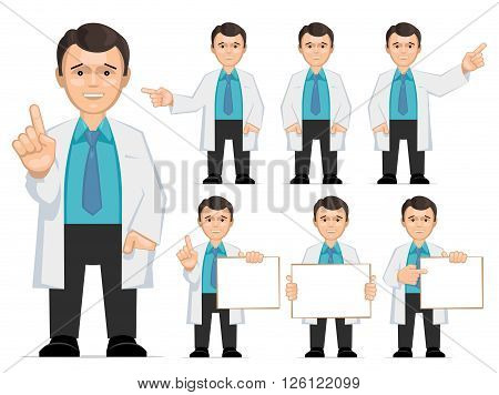 Doctor scientist teacher. Set of different poses and gestures paying attention or point to anything. Vector illustration of a man in a white coat. Flat style.