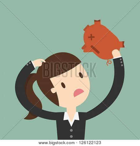 business woman seeing into piggy bank. Business Concept Cartoon Illustration.