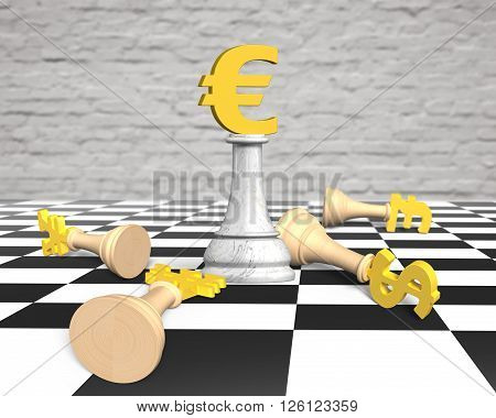 3D Money Chess With Golden Euro Currency King