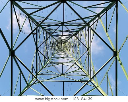 steel structure of transmission tower, bottom up view