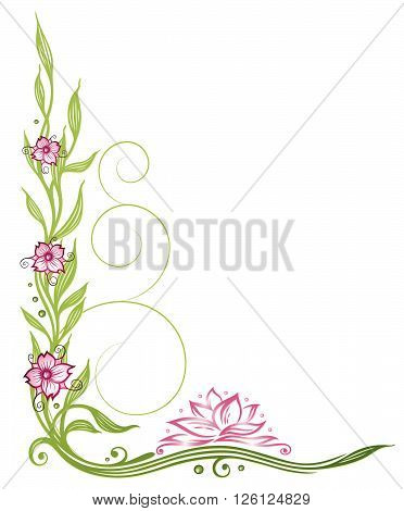 Lotus flower, beautiful waterlily, floral vector decoration with bamboo and cherry blossoms.