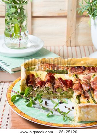 Spring Square Quiche With Asparagus, Prosciutto And Marjoram