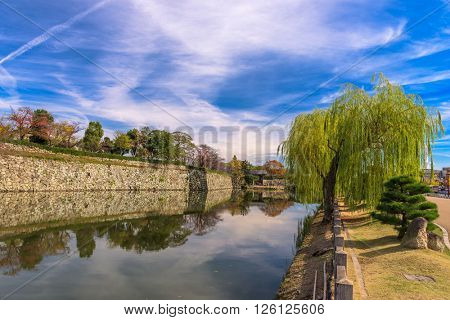 Himeji, Japan at the castle outer moat.