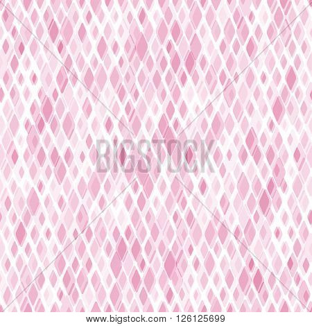 Pattern with mixed small spots. Diamond shapes in pink colors. Abstract geometric background. Seamless vector pattern.