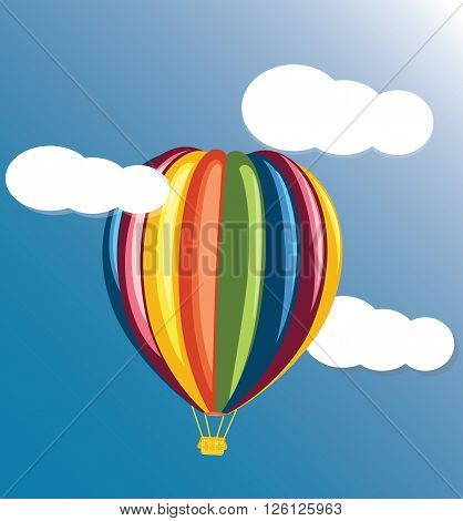 The colored balloon on a blue background