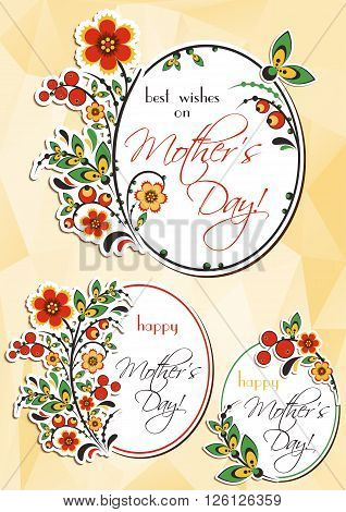 Greeting oval labels with Khokhloma floral ornament. Mini cards in three variants for Women's Day Mother's Day Birthday Anniversary. Vector illustration