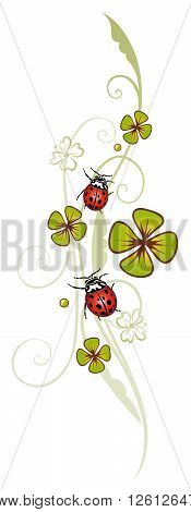 Clover tendril, decoration with clover and ladybug.