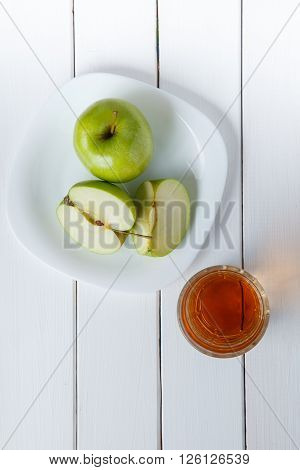 Apple Juice Pouring From Green Apples Fruits Into A Glass