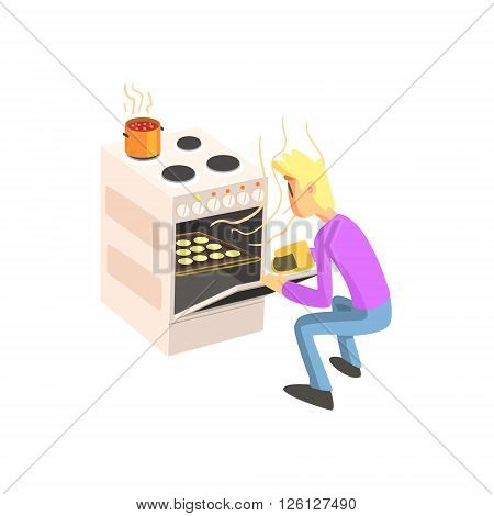 Guy Taking Out Cookies From Oven Fun Illustration In Simple Childish Style Flat Vector Design On White Background