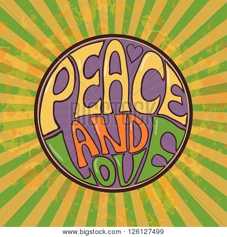 Hippie style. Ornamental retro background Love and Music with hand-written fonts hand-drawn doodle background and textures Hippy color vector illustration. Retro  We love hitchhiking