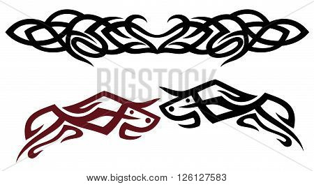 Vector set of Tribal and Tattoos. Red and black bulls.