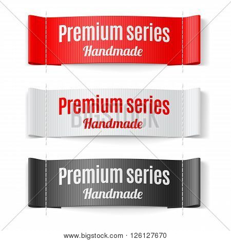 Set of Labels Premium series hand made red white and black