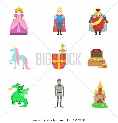 King, Prince, Princess And Related To Them Objects Set Of Flat Vector Icons In Cute Girly Style Isolated On White Bckground
