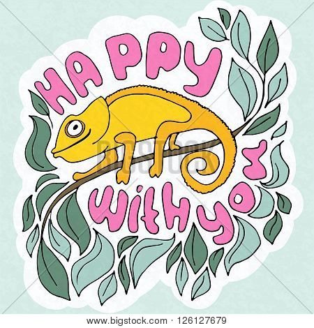 Vector illustration about cute hameleons on leaves - greetings card happy with you.