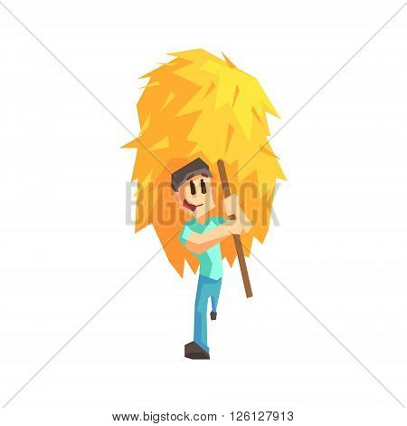 Guy Carrying Stack Of Hay Primitive Geometric Cartoon Style Flat Vector Design Isolated Illustration