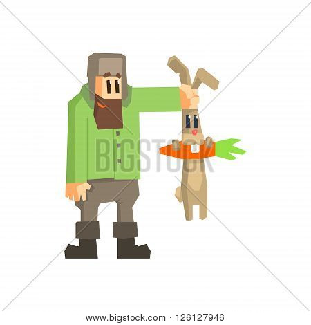 Man Holding Rabbit By The Ears Primitive Geometric Cartoon Style Flat Vector Design Isolated Illustration