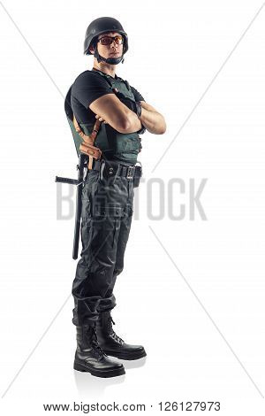 Police Officer With Crossed Arms  Is Looking On You. Isolated On White.