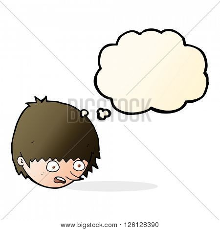 cartoon stressed face with thought bubble
